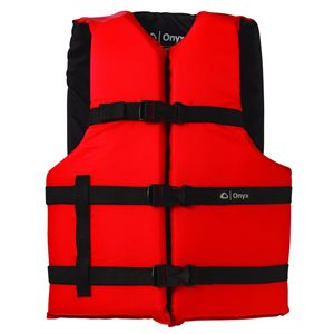 ONYX General Purpose Life Jacket Adult 90LB + Red